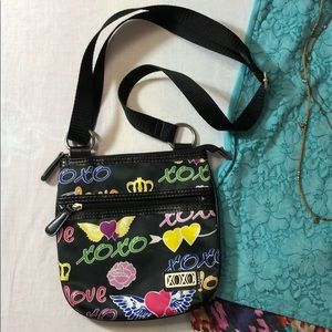XOXO Flying Hearts Crown Roses Crossbody 8.5x8x5